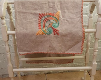 Stunning Linen Embroidered Square Tablecloth, Tropical/Exotic Warm Colours