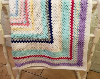 Handmade Brightly Coloured Vintage Style Crocheted Blanket