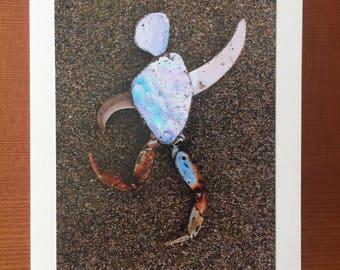 Man in Motion notecard - Popham Beach, ME