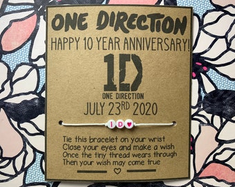 ONE DIRECTION Lyric Wish Bracelet, anniversary, One Direction, Cute, Harry Styles, Louis Tomlinson, Niall Horan, Liam Payne, 1D, 10 years