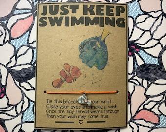 Finding Nemo Inspired Wish Bracelet, Dory, Nemo. Just Keep Swimming, Inspirational, motivational, friendship, cute, handmade, gift, love