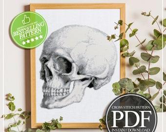 Anatomical Skull Cross Stitch, Anatomy Cross Stitch, Modern Cross Stitch, Science Cross Stitch, Medical Cross Stitch, Instant Download PDF