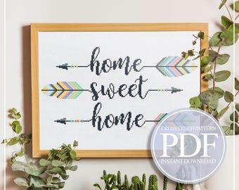 Arrow Cross Stitch Pattern PDF, Home Sweet Home Cross Stitch, Housewarming Cross Stitch, Quote Cross Stitch