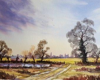 Original watercolour NIGHTINGALE FARM winter, countryside, trees, skies.