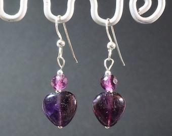 Amethyst Drop Earrings | Sterling Silver Ear Wires | Heart Earrings | Silver Jewellery | Valentine's Gift | Gift for Her
