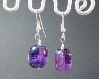 Amethyst Drop Earrings | Sterling Silver Ear Wires | Silver Jewellery | Gift for Her