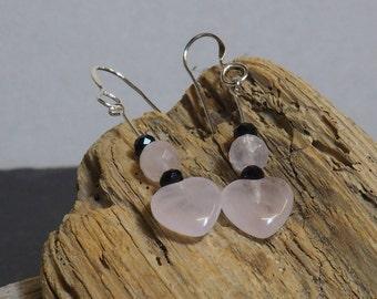 Rose Quartz Drop Earrings | Sterling Silver Ear Wires | Heart Earrings | Silver Jewellery | Valentine's Gift | Gift for Her