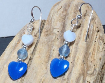 Blue Agate Drop Earrings | Sterling Silver Ear Wires | Heart Earrings | Silver Jewellery | Valentine's Gift | Gift for Her