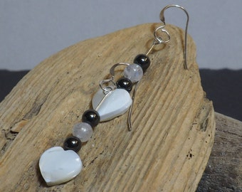Mother of Pearl Drop Earrings | Sterling Silver Ear Wires | Heart Earrings | Silver Jewellery | Valentine's Gift | Gift for Her