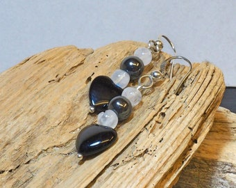 Black Onyx Drop Earrings | Sterling Silver Ear Wires | Heart Earrings | Silver Jewellery | Valentine's Gift | Gift for Her