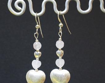 Rose Quartz Drop Earrings | Sterling Silver Ear Wires | Silver Heart Earrings |Silver Jewellery | Valentine's Gift | Gift for Her