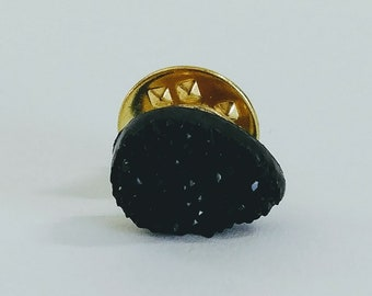Faux Black Teardrop Druzy Pin