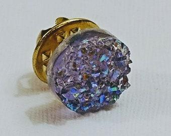 Faux Purple Druzy Pin