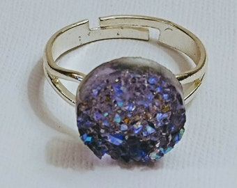 Faux Purple Druzy Ring