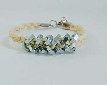 Hex Nut and White Suede Bracelet