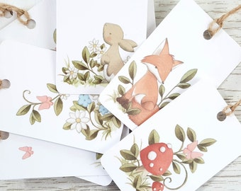4 Gift Tags Flowers and Butterflies
