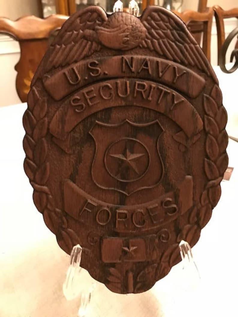 U S  Navy Security Forces Wood Carved Badge