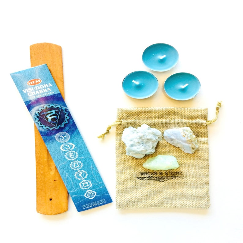 Throat Chakra Healing Kit, Meditation Kit, Throat Chakra Crystals, Throat  Chakra Incense, Throat Chakra Symbol, Sage Kit, Blue Candles