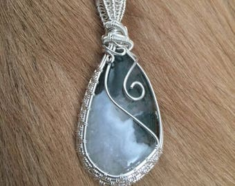 Moss Agate & Sterling Necklace