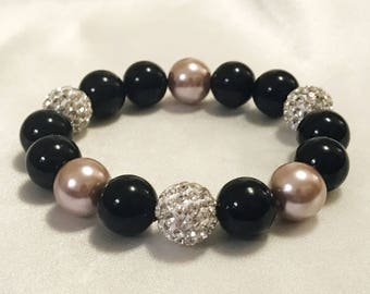 Taupe and black pearl bracelet with pave beads