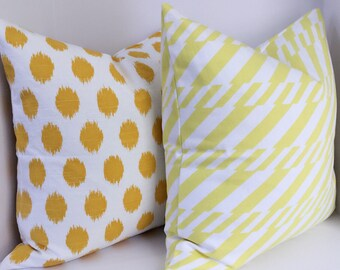 Yellow and white pillow cover set,yellow dots pillow cover ,