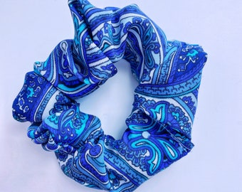 Blue Paisley Silk Scrunchie (Handmade with FREE Shipping)