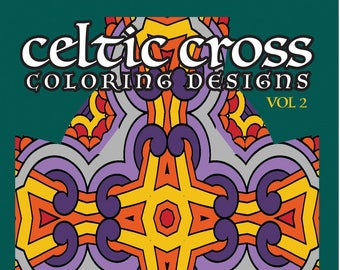 celtic cross coloring bundle adult coloring page instant | Etsy