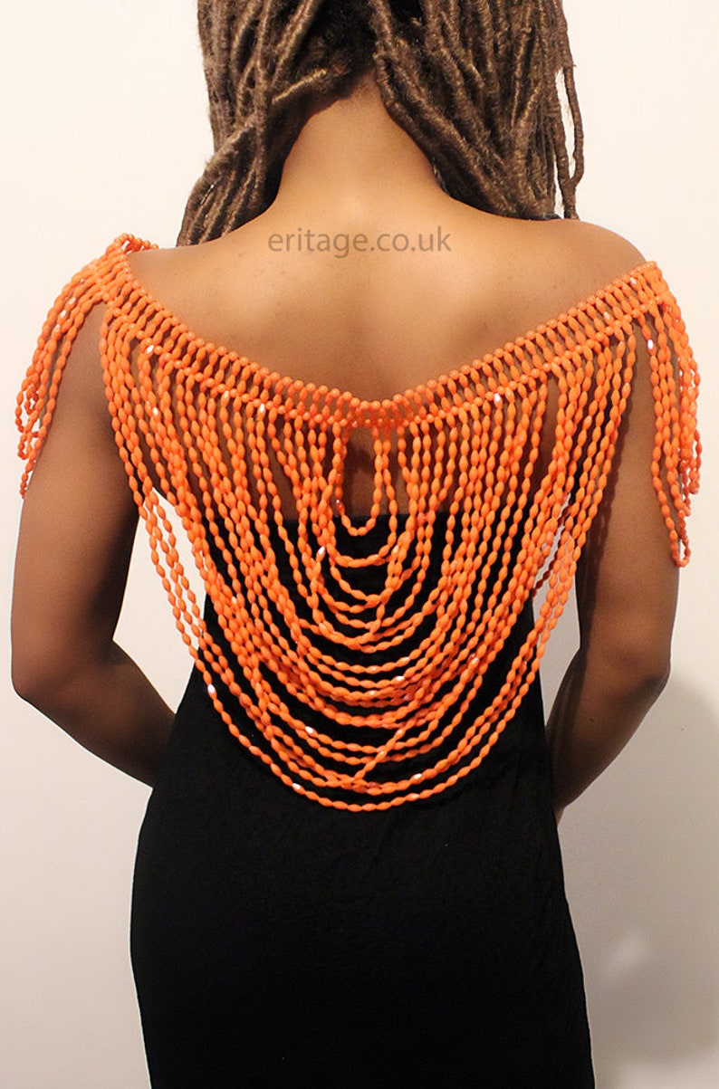 Handmade African Shoulder Statement Necklace Beads Orange