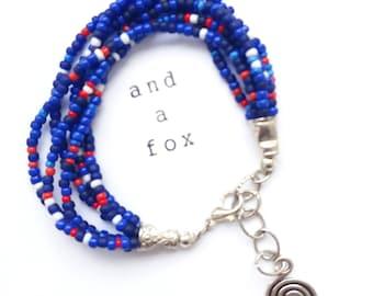 Dark Blue shades stone Czech seed beads bracelet