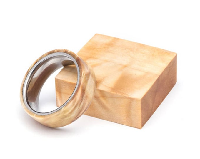 Figured Poplar Wood and Stainless Steel Core ring, Wood Ring for Men, Wood Ring for Women, Wedding Band, Everyday Ring