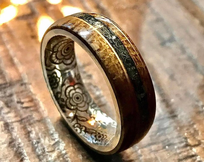 Authentic Whiskey Barrel Wood with Meteorite inlay and Sterling Silver Flower Engraved Core - Wedding Band - Wood Ring - Sterling Silver