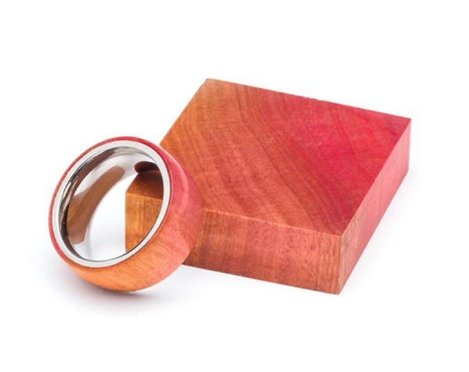 Pink Ivory Wood and Stainless Steel Core ring, Classic Wood Ring, Wood Ring for Men, Wood Ring for Women, Wedding Band, Everyday Ring