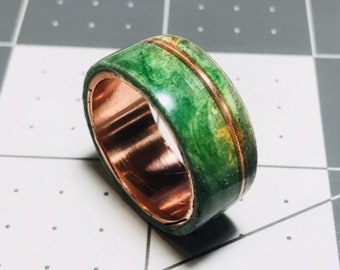 Green dyed, Buckeye Burl, Guitar String Inlay, Copper Core, Wood Ring for Men, Wood Ring for Women, Copper Ring, Wedding Band