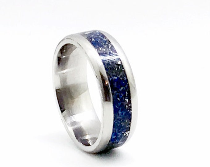Titanium, Meteorite , Lapis Lazuli, Meteorite Wedding Band, Men's Engagement Ring, Titanium Ring, Meteorite Ring