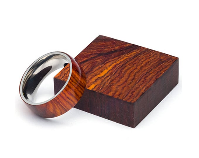 Exotic Cocobolo Wood and Stainless Steel Core ring, Wood Ring for Men, Wood Ring for Women, Wedding Band, Everyday Ring
