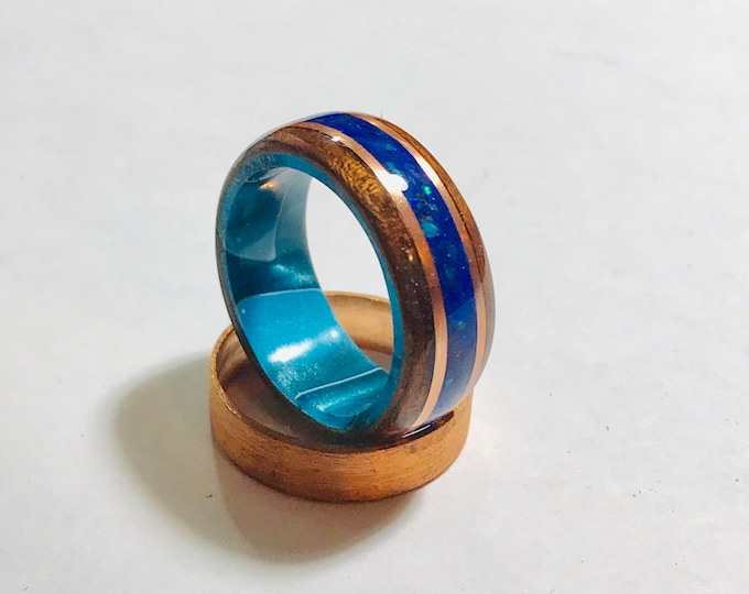 West African Etimoe wood with Pacific Sapphire Crushed Opals, Copper banding, Blue Swirl Resin Core Bentwood Ring,