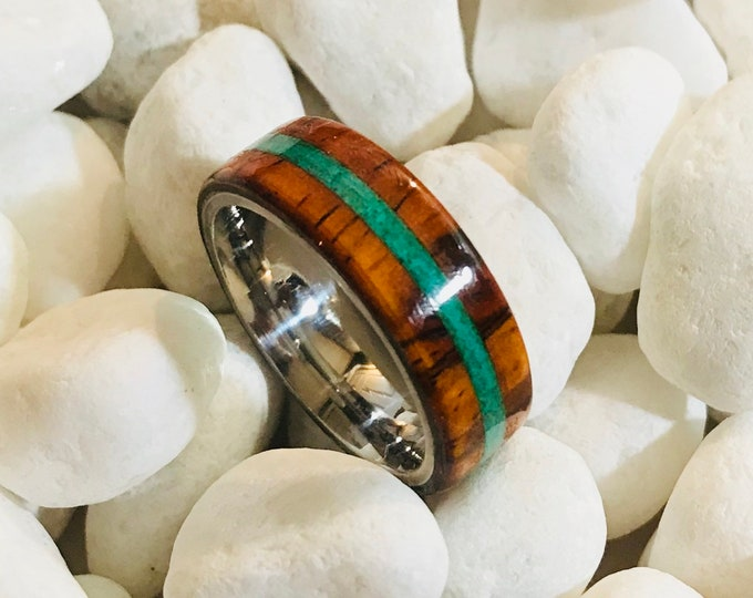 Exotic Cocobolo with a natural crushed Malachite stone Inlay