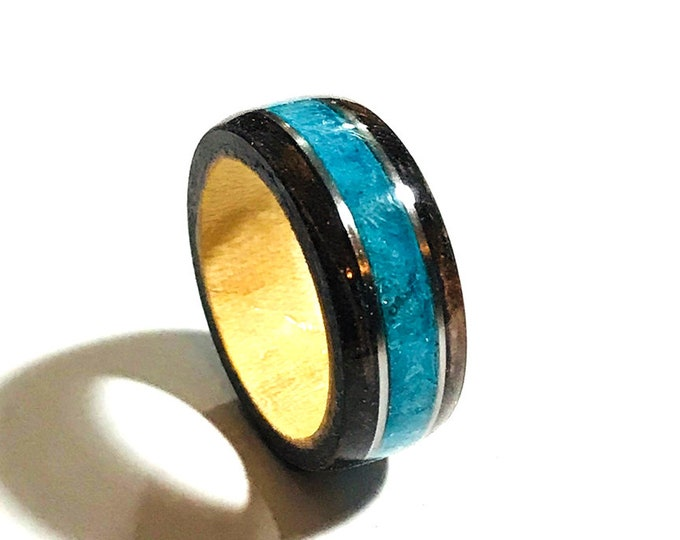 Walnut Burl Wood Ring, Teal German Glass Inlay, Wooden Rings, Engagement Wood Ring, Wood Ring For Women, Wood Ring For Men