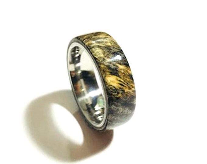 Buckeye Burl, and Stainless Steel Core Wood Ring