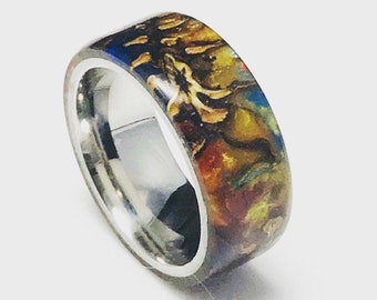 Multicolored Mini Pine Cone Acrylic and Titanium Comfort Core Ring, Wedding Band, Everyday ring, Mens, Womans
