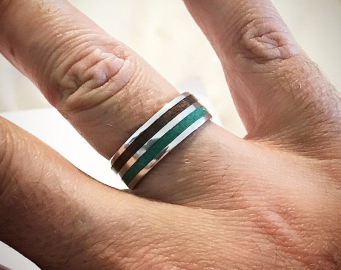 Sterling silver band with crushed Malachite and West African Etimoe wood inlays, ring, wedding band, mens ring, womens ring