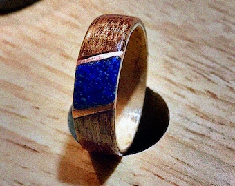 Mahogany wood ring with maple core and natural crushed Lapis lazuli stone and copper Inlay