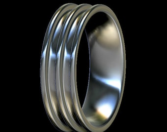Dual Channel Inlay Ring Core, Comfort Fit, Sterling Silver, For Ring Making