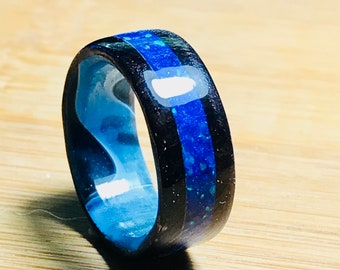 African Blackwood Wood Ring,  Pacific Sapphire Crushed Opals, Caribbean Swirl Acrylic Core