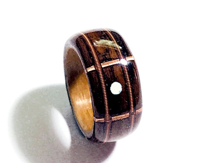 Guitar Fretboard Wood Ring, Brazilian Rosewood Lined with Cherry, Guitar Strings and Mother Of Pearl Inlay with Copper Frets