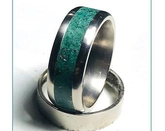 Titanium - Meteorite Glow Ring - Opal - Green Glow Ring - Men's Engagement Ring - Green - Meteorite Ring - Meteorite Wedding Band