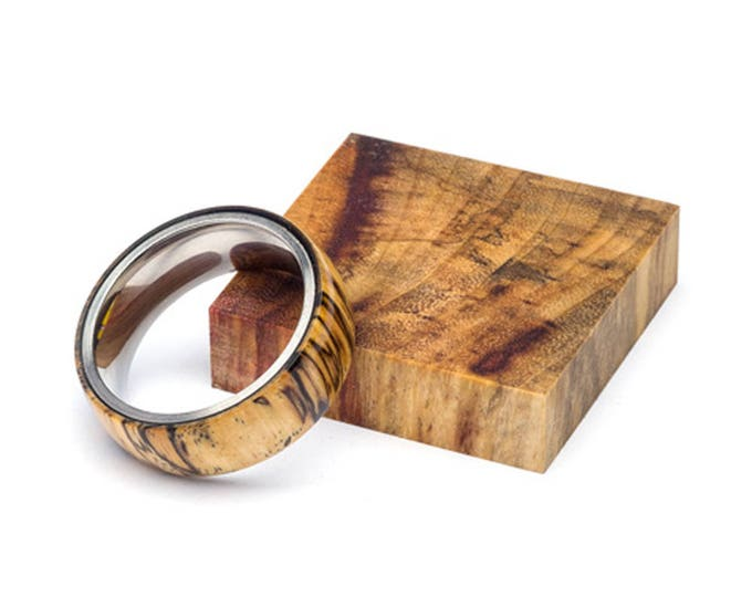 Spalted Tamarid wood and Stainless Steel Core ring, Classic Wood Ring, Wood Ring for Men, Wood Ring for Women, Wedding Band, Everyday Ring