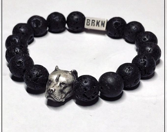 Pitbull Bead Bracelet - STERLING SILVER - Black Lava Beads