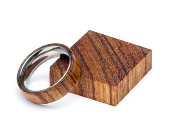 Zebra Wood and Stainless Steel Core ring, Classic Wood Ring, Wood Ring for Men, Wood Ring for Women, Wedding Band, Everyday Ring