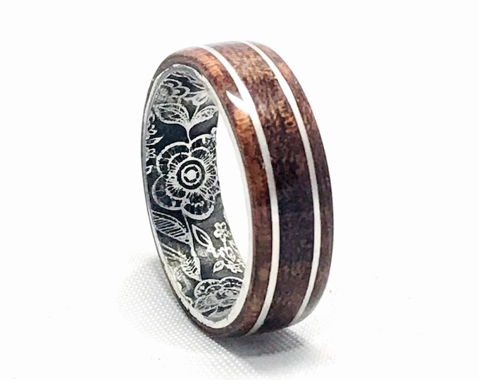 West African Etimoe wood, sterling silver bands, custom engraved antique patina sterling silver core, wedding band, everyday ,men, women